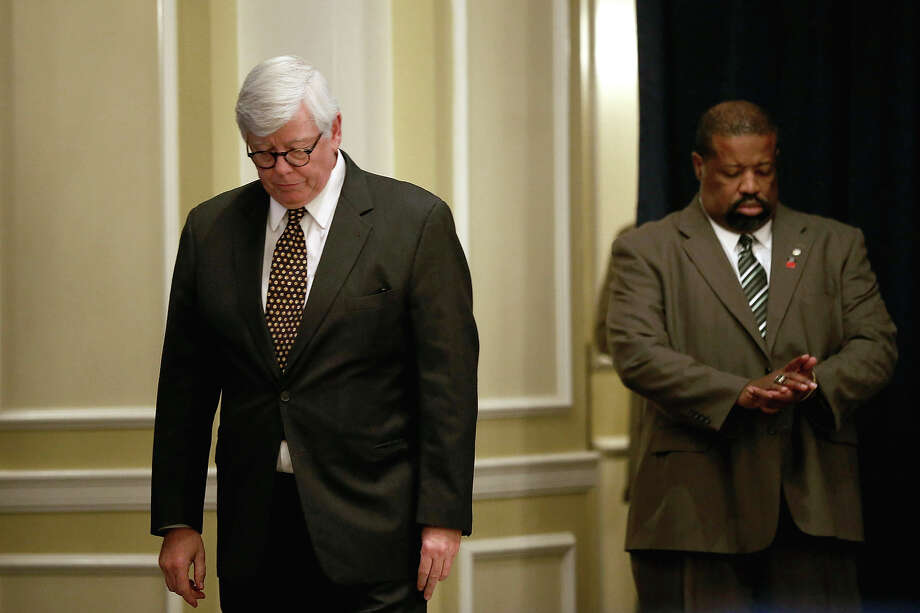 WASHINGTON, DC - DECEMBER 21:  National Rifle Association President David Keene (L) walks out before making remarks during a news conference at the Willard Hotel December 21, 2012 in Washington, DC. This is the first public appearance that leaders of the gun rights group have made since a 20-year-old man used a popular assault-style rifle to slaughter 20 school children and six adults at Sandy Hook Elementary School in Newtown, Connecticut, one week ago. Photo: Chip Somodevilla, Getty Images / 2012 Getty Images