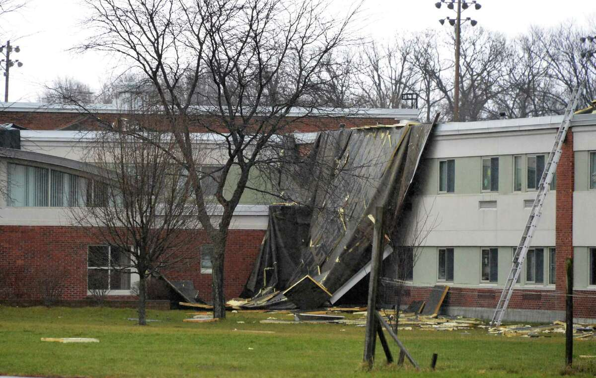 A portion of the Goff Middle School's roof was blown off in high winds Friday morning in East Greenbush Dec. 21, 2012. (John Carl D'Annibale / Times Union)