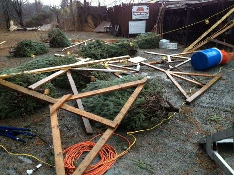 A Christmas tree display was damaged by wind near Averill Park high school on Friday, Dec. 21, 2012. (Lori Van Buren/Times Union)