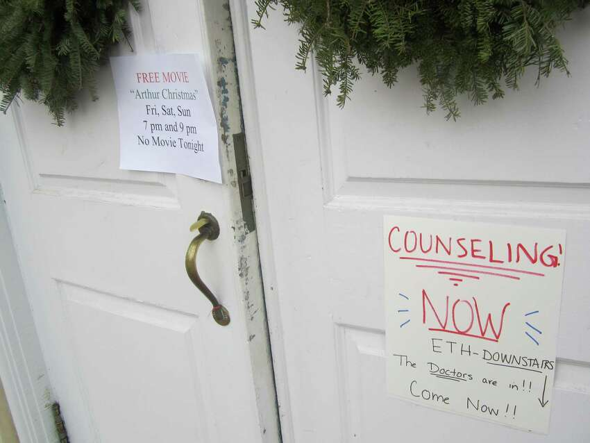 For decades, the town hall in Newtown has shown Friday night movies and the site is a popular hangout for teens. The Christmas movie scheduled for Dec. 21-23 was cancelled and grief counseling was available instead.
