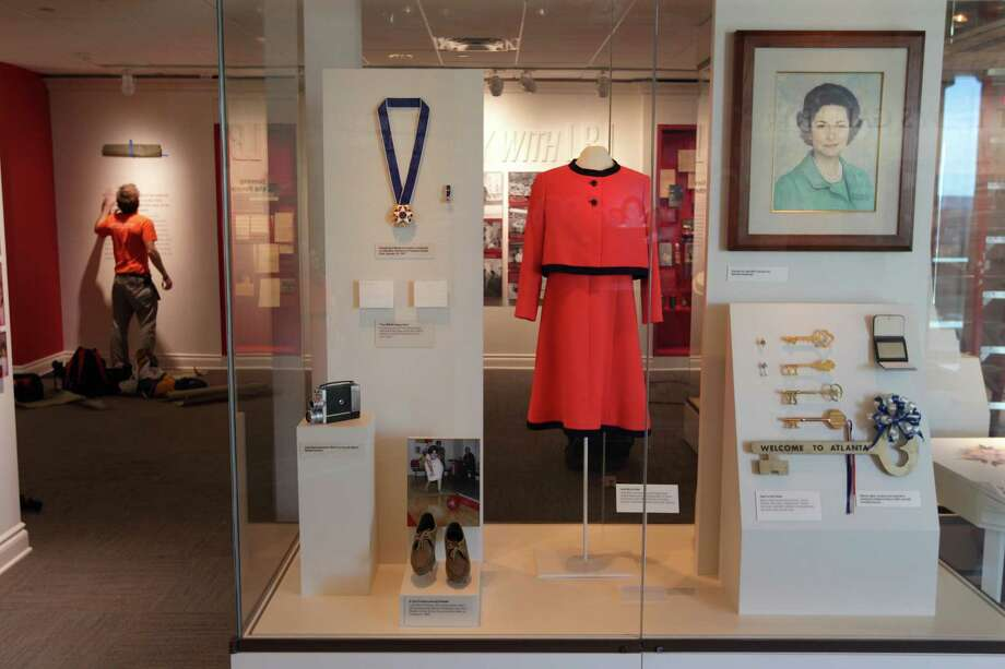 Lady Bird Johnson's gallery features the first lady's red sheath dress and matching red jacket worn on many occasions at the White House.Read the story: Open house marks Lady Bird Johnson's 100th birthday Photo: Erich Schlegel, Houston Chronicle / ©2012 Erich Schlegel