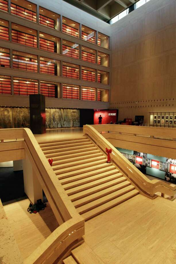 """""""The Great Hall"""" welcomes visitors to the library. Photo: Erich Schlegel, Houston Chronicle / ©2012 Erich Schlegel"""