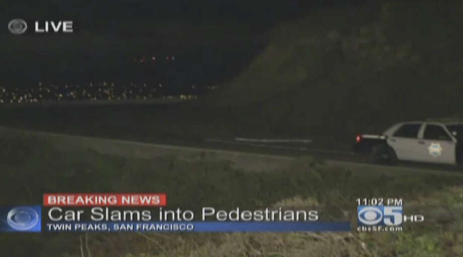 A suspected hit and run driver ran into pedestrians at San Francisco's Twin Peaks Thursday night. Photo: CBS San Francisco