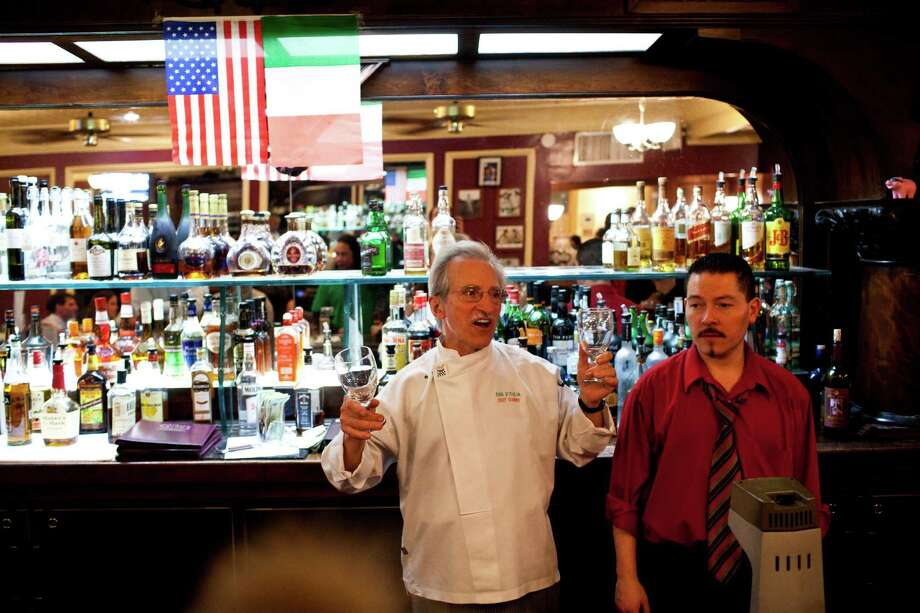 Executive chef Gianni Audieri makes a farewell speech to patrons and staff during the last night of business after 126 years Photo: Jason Henry, Special To The Chronicle / ONLINE_YES