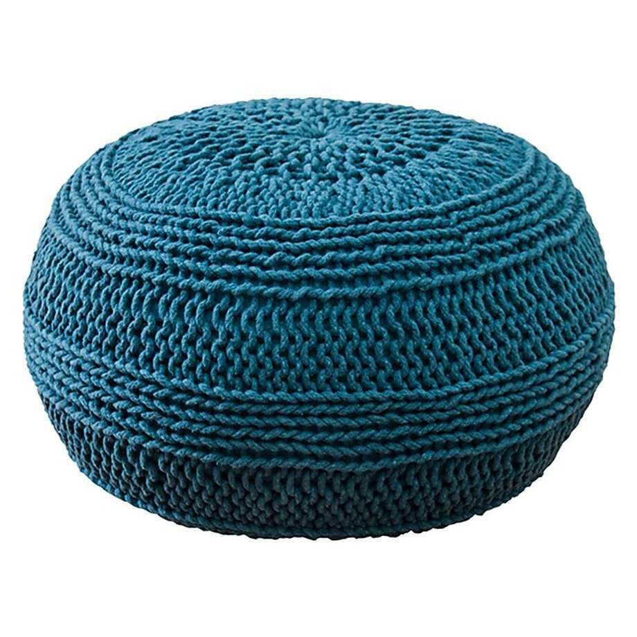 More: $160 Rizzy Home Cable Knit Pouf by Wayfare. Photo: Cost Plus World Market
