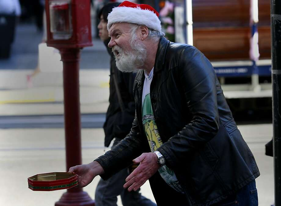 """Cosmo Donahue says he's """"very polite"""" when he panhandles around Union Square and is angry with his aggressive counterparts who badger people for money. Photo: Brant Ward, The Chronicle"""