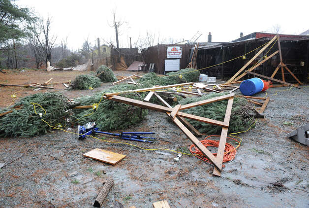 A Christmas tree display is damaged from high winds and rain on Friday Dec. 21, 2012 in Averill Park, N.Y.  (Lori Van Buren / Times Union) Photo: Lori Van Buren