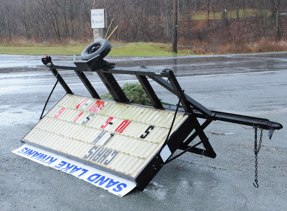 A sign near the Averill Park High School is turned over from high winds on Friday Dec. 21, 2012 in Averill Park, N.Y.  (Lori Van Buren / Times Union) Photo: Lori Van Buren