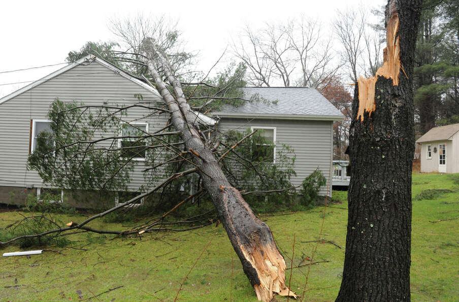 A tree fell on a home from high winds and rain on Friday Dec. 21, 2012 in Averill Park, N.Y.  (Lori