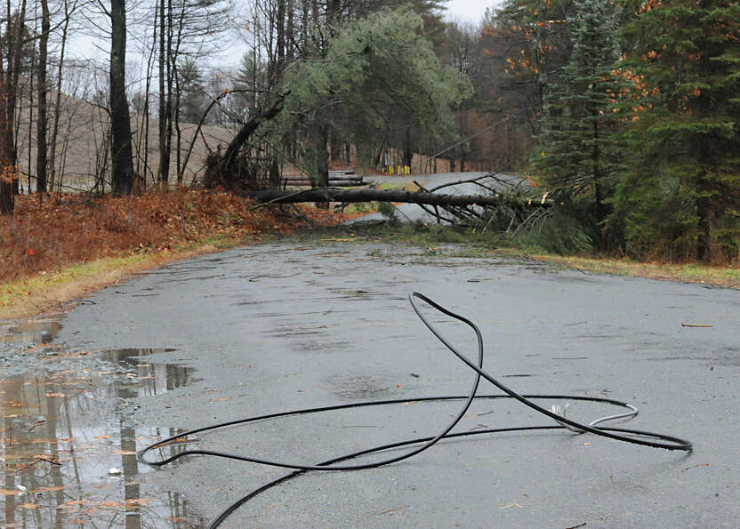 Part of Springer Rd is closed due to a down wire and tree from high winds and rain on Friday Dec. 21