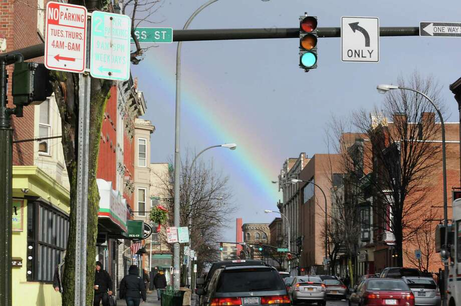 A rainbow is seen during a wind and rain storm on Friday Dec. 21, 2012 in Troy, N.Y.  (Lori Van Buren / Times Union) Photo: Lori Van Buren