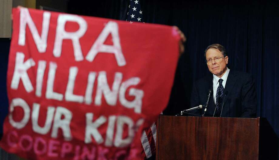 Despite protests during a recent speech by Wayne LaPierre on the right of people to bear arms in the wake of the Newtown, Conn., shootings, one of our readers defends the executive vice president of the National Rifle Association. Photo: Olivier Douliery, McClatchy-Tribune News Service / Abaca Press