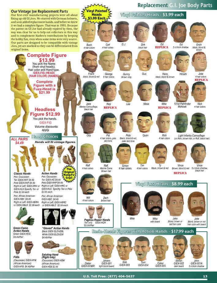 G.I. Joe body parts. You'd be amazed at how many grown men actually buy stuff like this for non psycho reasons. (www.gijoeelite.com)