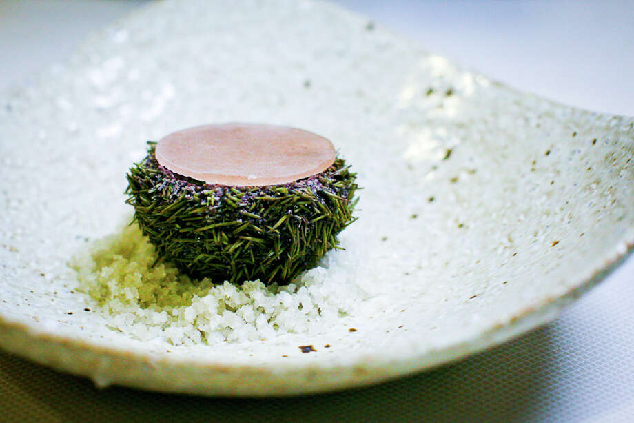 First course: Urchin, broccoli, crab, ice (Creel Films)