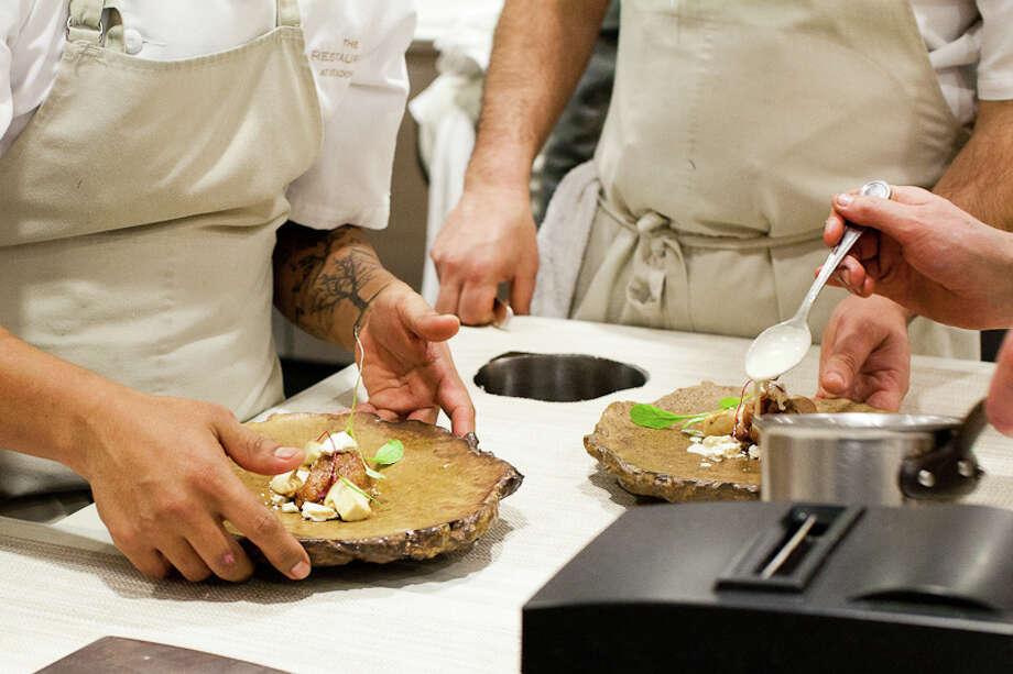 Seventh course: Sweetbread matsutake hazelnut (Creel Films)