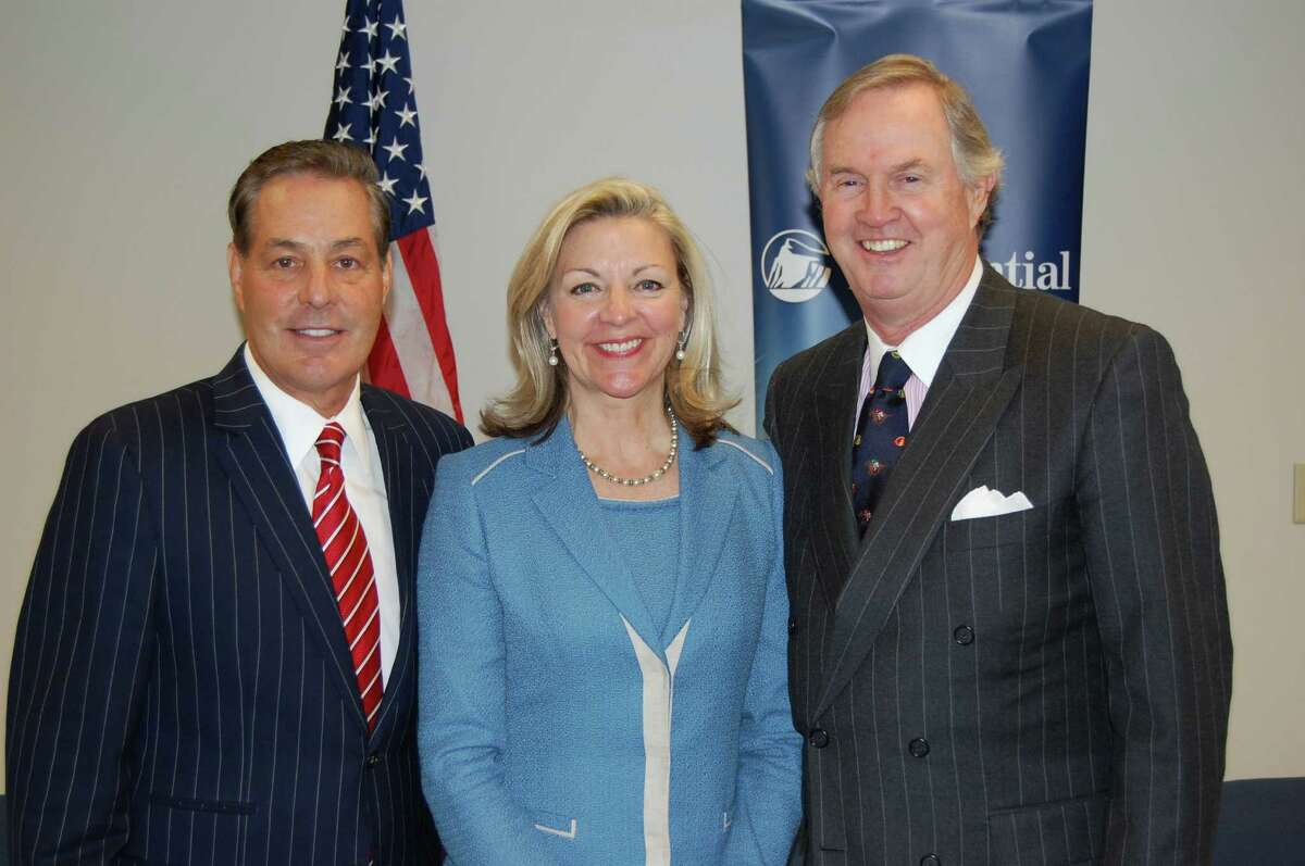 From Left Ron Peltier âÄì chairman and CEO HomeServices of America, Candace Adams, president Prudential Connecticut Realty, Peter Helie, chairman and CEO Prudential Connecticut Realty.