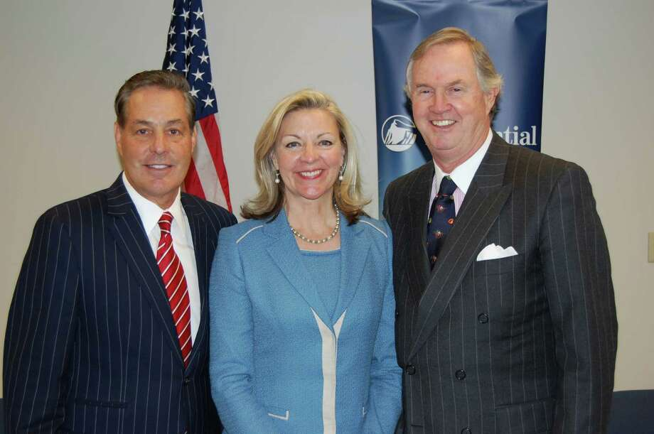 From Left Ron Peltier âÄì chairman and CEO HomeServices of America, Candace Adams, president Prudential Connecticut Realty, Peter Helie, chairman and CEO Prudential Connecticut Realty. Photo: Contributed Photo / Stamford Advocate Contributed
