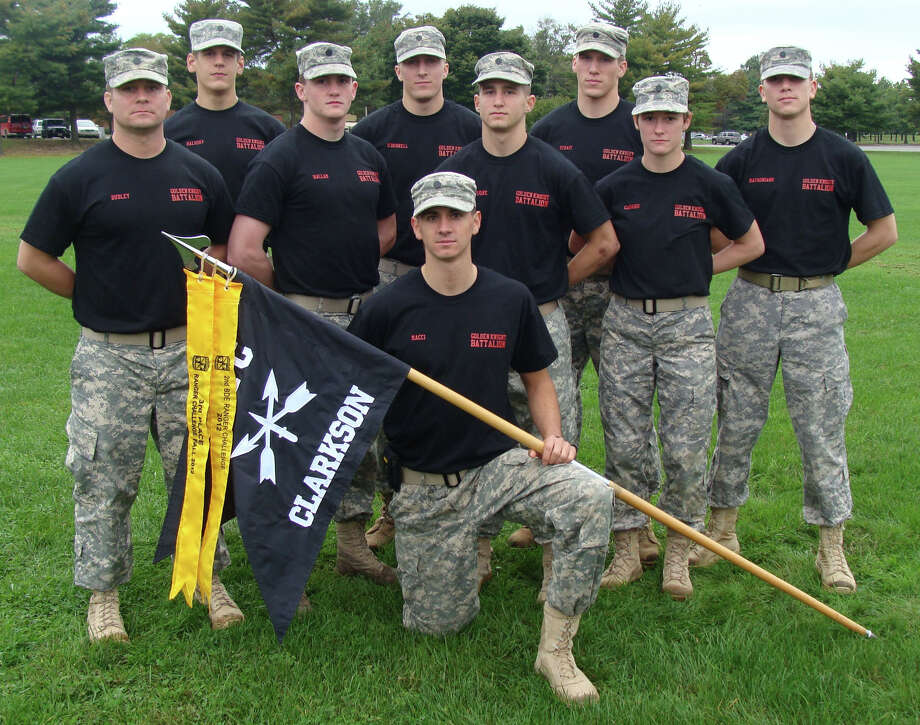 CLARKSON UNIVERSITY A team of Clarkson University Army ROTC cadets gather after they finished second of 44 teams in the Ranger Challenge competition held at Fort Dix, N.J. The cadets include Devin Hallam of Schenectady, second from left standing in front row, and Nick Haluska, of Slingerlands, first from left in back row.
