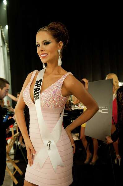 Miss Spain, Andrea Huisgen, poses backstage during Wednesday night's live telecast of the 2012 Miss