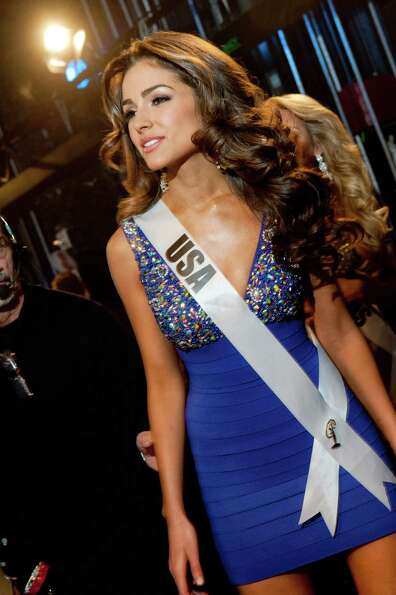 Miss USA, Olivia Culpo, poses backstage.