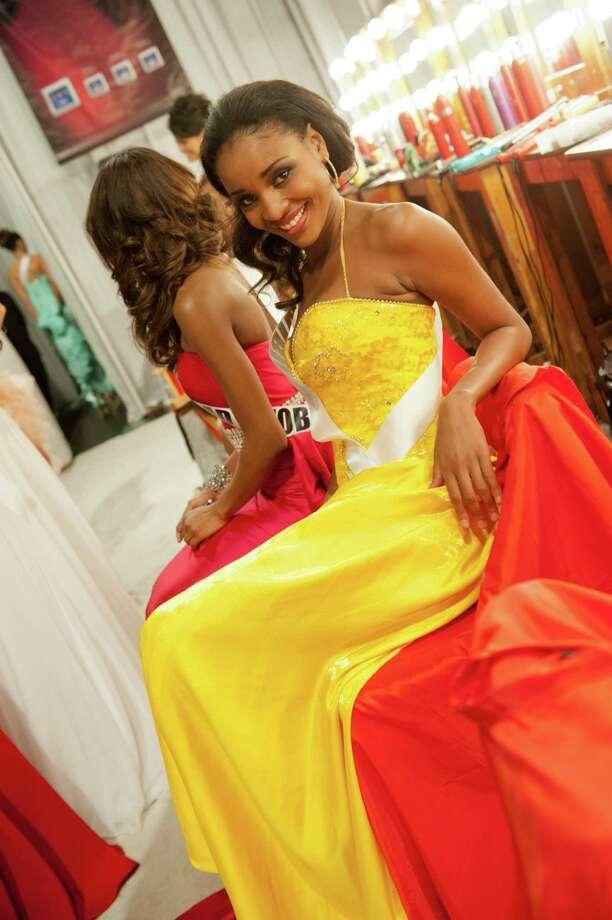 Miss Namibia, Tsakana Nkandih, poses backstage. Photo: Valerie Macom, Miss Universe Organization / Miss Universe Organization