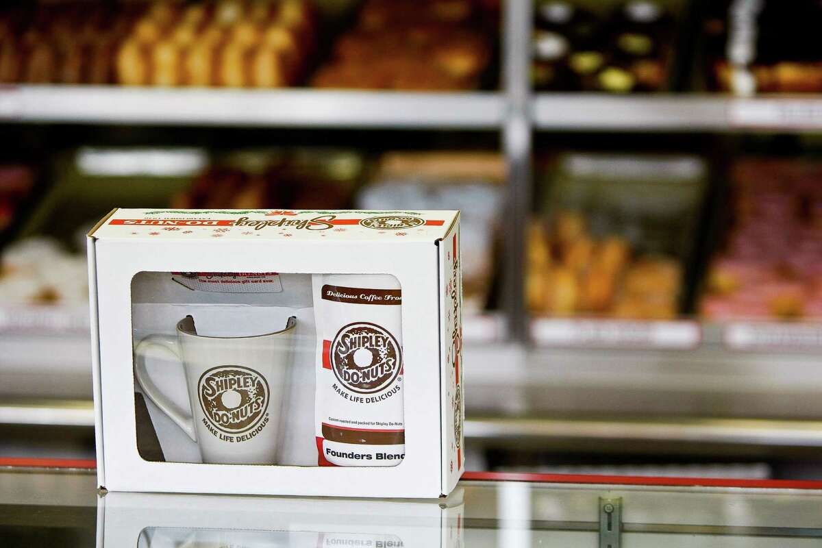 Shipley's Do-nuts' gift set includes a bag of Founders Blend coffee, Wednesday, Dec. 19, 2012, in Houston.