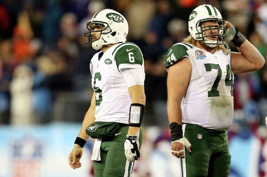 NASHVILLE, TN - DECEMBER 17:  Quarterback Mark Sanchez #6 of the New York Jets walks off the field after a play in the fourth quarter against the Tennessee Titans at LP Field on December 17, 2012 in Nashville, Tennessee.  (Photo by Andy Lyons/Getty Images) Photo: Andy Lyons / 2012 Getty Images