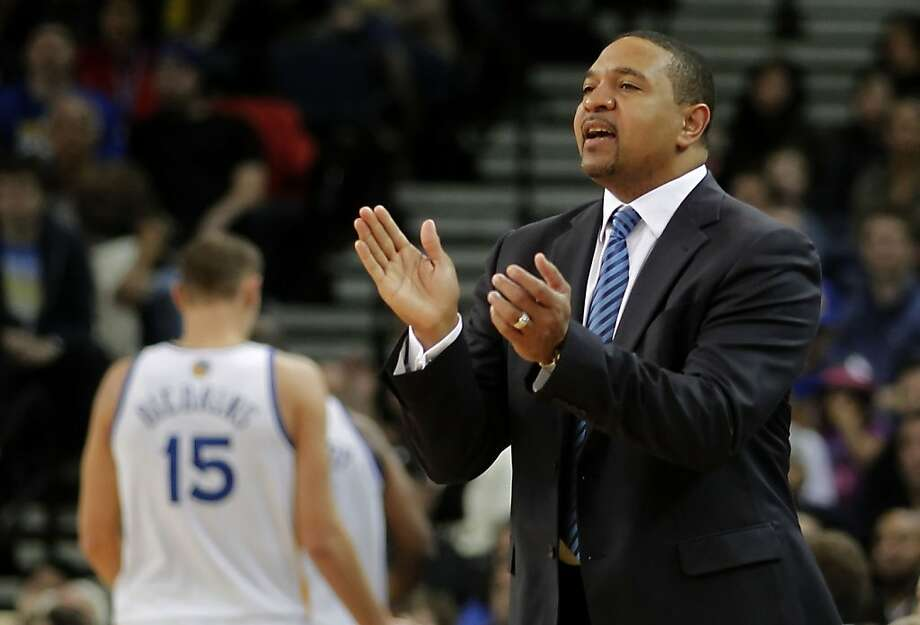 Warriors head coach Mark Jackson directs from the beanch  as the Golden State Warriors went on to beat the Charlotte Bobcats 115-100 in NBA action at the in Oakland, Calif. on Friday Dec. 21,2012. Photo: Michael Macor, The Chronicle