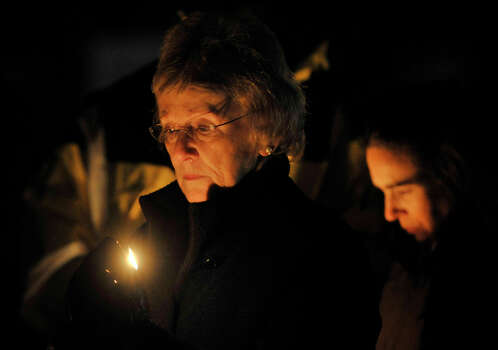 Newtown First Selectman Pat Llodra attends the vigil at Fairfield Hills Campus in Newtown on Friday, Dec. 21, 2012, one week after the shooting at Sandy Hook Elementary School. Photo: Jason Rearick / The News-Times