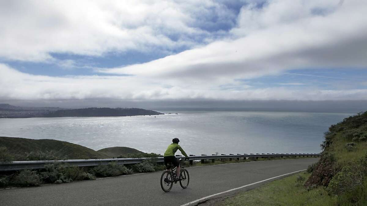 Cyclist like Steve Kirkham from San Francisco rides the one-way section of upper Conzelman Road in the Marin Headlands several times a month; he and others will have to use alternate routes starting Monday March 1, 2010. The Marin Headlands roadway will be closed to the public as Construction crews work on Project Headlands, that will include a number of improvements, like bike lanes and widening of the roadway in spots used by sightseers, hikers and cyclist Wednesday Feb. 24, 2010.