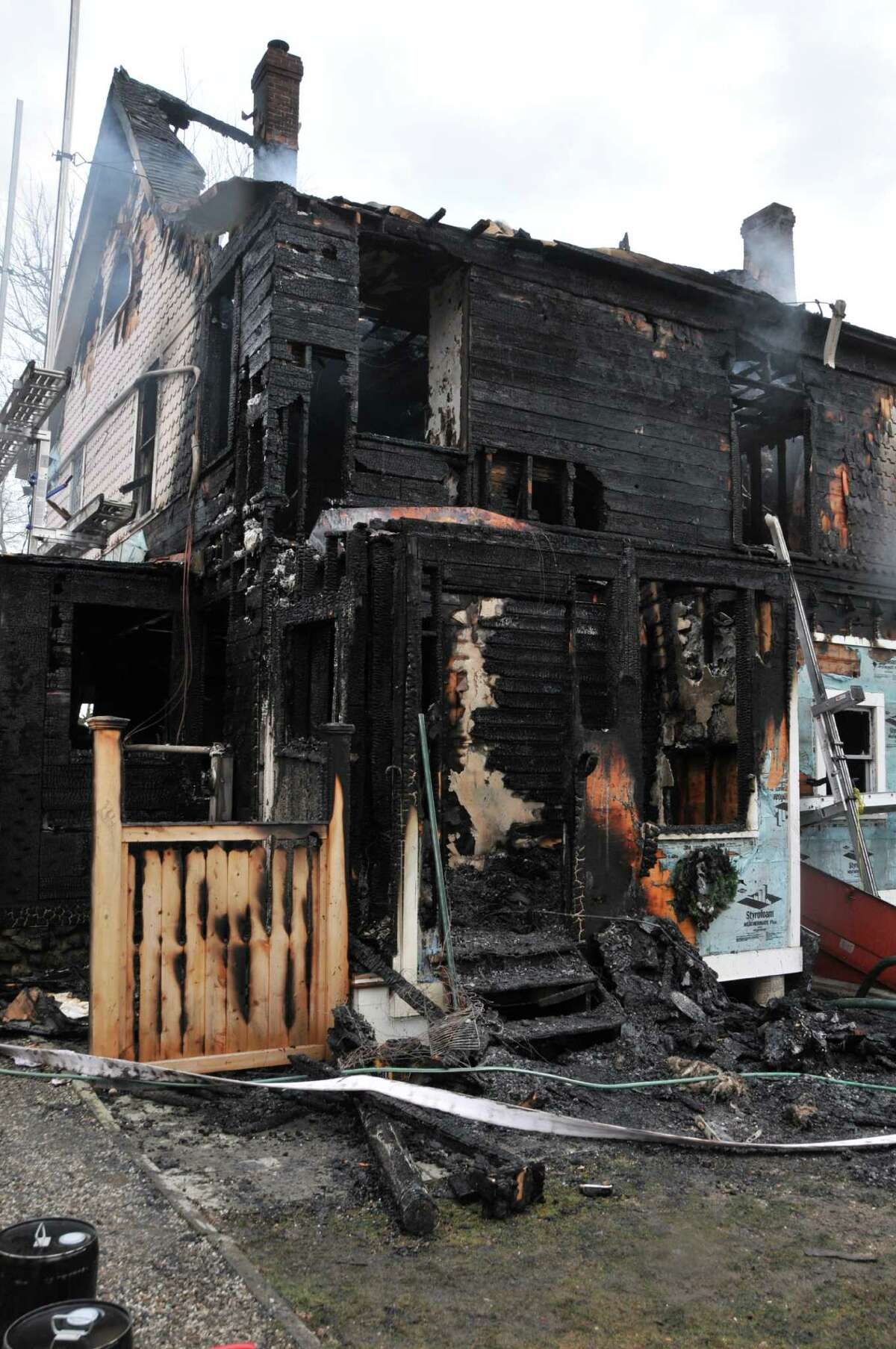 A view of the rear mudroom of the house at 2267 Shippan Ave. The Stamford Fire Marshal's investigation into the deadly blaze concluded the fire began due to a bag of ashes placed near the door of the mudroom.