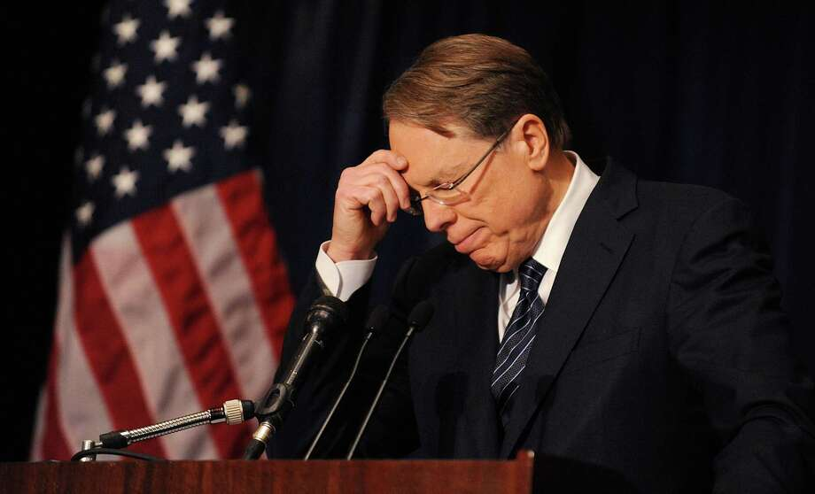 "Wayne LaPierre, executive vice president of the NRA, embraced a ""more guns, less crime"" philosophy during a speech Friday in Washington, D.C., advocating armed security guards in schools to prevent mass attacks. Photo: Olivier Douliery, MBR / Abaca Press"