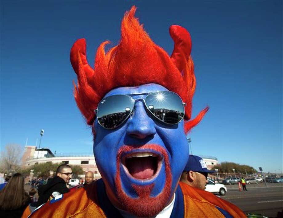 Boise State fan Jimmy Haun, of Boise, Idaho, stands outside the stadium before the Las Vegas Bowl NCAA college football game between Boise State and Washington on Saturday, Dec. 22, 2012, in Las Vegas. Photo: Darin Oswald, AP / The Idaho Statesman