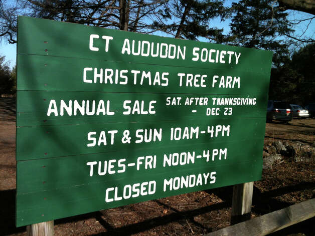 Sign by the entrance to the Connecticut Audubon Society's Christmas tree farm on Sasco Creek Road in Westport, near the border with Fairfield.  Westport CT 12/14/12 Photo: Andrew Brophy / Westport News contributed