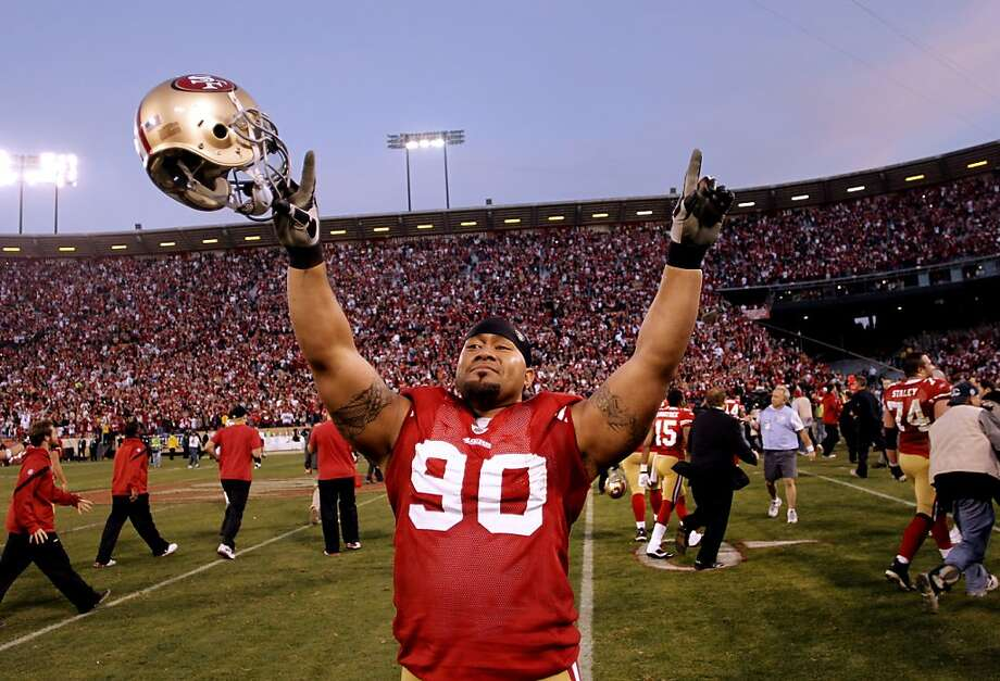Isaac Sopoaga celebrates the 49ers' Jan. 14 playoff victory over New Orleans that restored a long-lost feeling. Photo: Michael Macor, The Chronicle