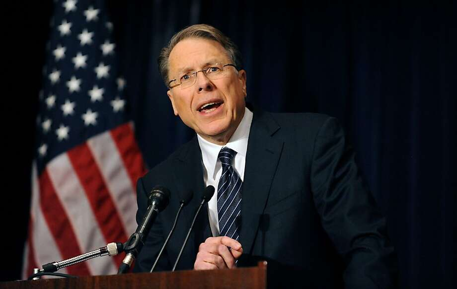 Wayne LaPierre, executive vice-president of the National Rifle Association of America (NRA), speaks at a news conference at the Willard Hotel, December 21, 2012 in Washington, DC. The nation's largest gun lobby called Friday for Congress to require armed security guards in every school, saying it would help prevent such acts of mass violence from happening again. (Olivier Douliery/Abaca Press/MCT) Photo: Olivier Douliery, McClatchy-Tribune News Service