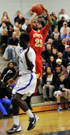 Stratford high school's Bernard Brantley take a jumpshot in a boys basketball game against Bunnell high school played at Bunnell high school, Stratford, CT on Saturday, December 22nd, 2012. Photo: Mark Conrad / Connecticut Post Freelance