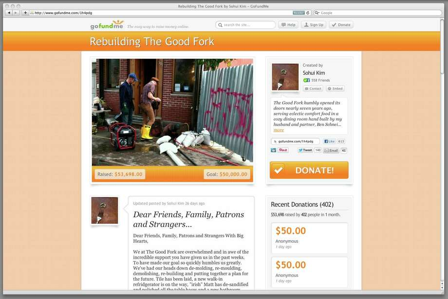 This Dec. 19, 2012 image shows a frame grab of gofundme.com. This web page solicits donations to rebuild a New York restaurant, The Good Fork. In the aftermath of Superstorm Sandy, some who lost their homes or businesses have turned to crowd-funding websites. (AP Photo/gofundme.com) Photo: Uncredited