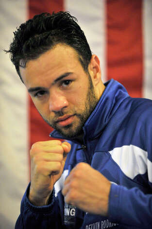 Dominican-born and Danbury-raised Delvin Rodriguez will fight Austin Trout on June 2 for the World Boxing Association junior middleweight world championship. Photographed at his training camp in North Hudson, N.Y., on Tuesday, May 8, 2012. Photo: Jason Rearick / The News-Times