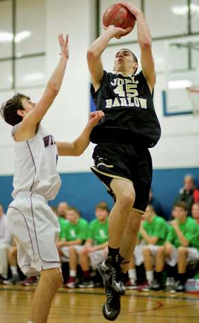 Joel Barlow High School's Phil Moriber shoots during the championship game of the Tip-Off Classic boys basketball tournament against Bethel High School, played at the War Memorial in Danbury. Saturday, Dec. 22, 2012 Photo: Scott Mullin / The News-Times Freelance