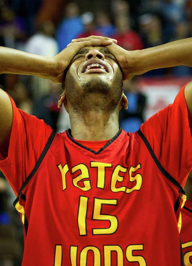 Houston Yates center  Maurice Ellis reacts after the Lions loss to Dallas Kimball in the UIL class 4A state championship high school basketball game at the Erwin Center on Saturday, March 10, 2012, in Austin.  Kimball won the game 78-75. Photo: Smiley N. Pool, Houston Chronicle / © 2012  Houston Chronicle