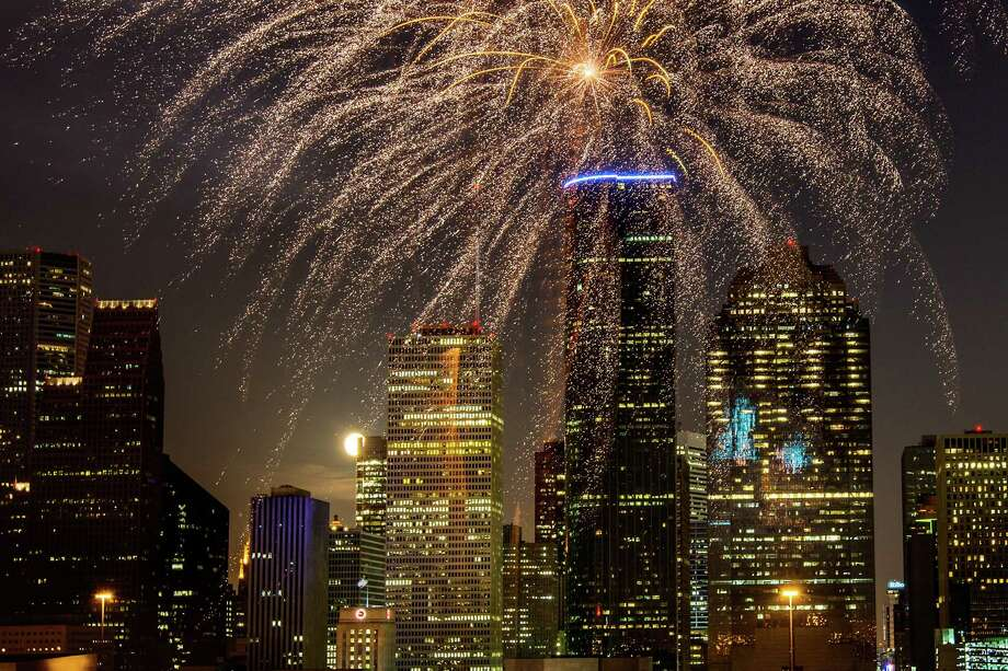 Fireworks explode over the downtown skyline during the Freedom Over Texas annual Fourth of July celebration on Wednesday, July 4, 2012, in Houston. Photo: Smiley N. Pool, Houston Chronicle / © 2012  Houston Chronicle