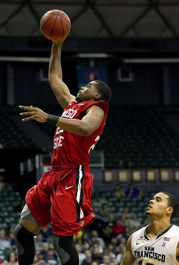 San Diego State's Chase Tapley scores two of his 33 points against USF. Photo: Eugene Tanner, Associated Press