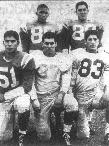 Brackenridge's defensive line: (front row from left) Isidro Villalobos, Alfred Valdez and Louis Perez; (back row from left) linebackers Douglas Coffee and Eddie Villarreal. File photo