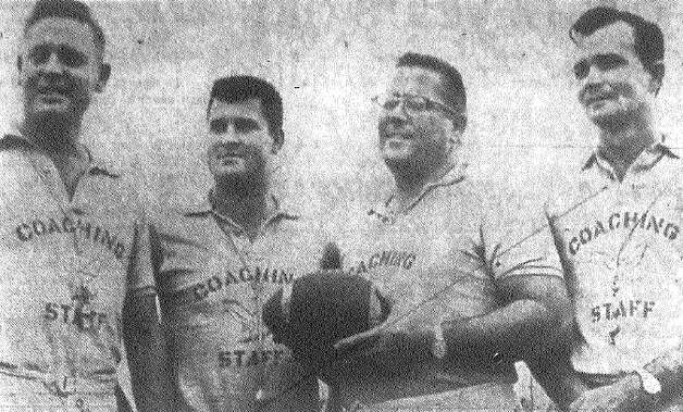 Brackenridge coaches (from left) Joe Mullins, line coach; Rode Gonzales, backfield and B team coach; Weldon Forren, head coach; and Herman Humble, scouting.