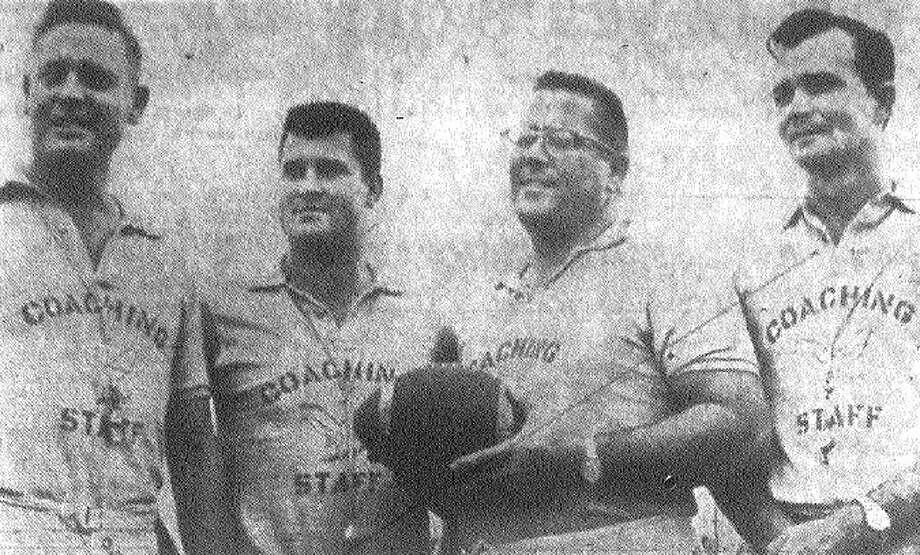 Brackenridge coaches (from left) Joe Mullins, line coach; Rode Gonzales, backfield and B team coach; Weldon Forren, head coach; and Herman Humble, scouting.