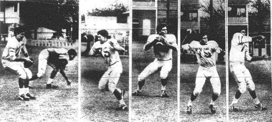 Brackenridge quarterback Vic Castillo displays his passing form.