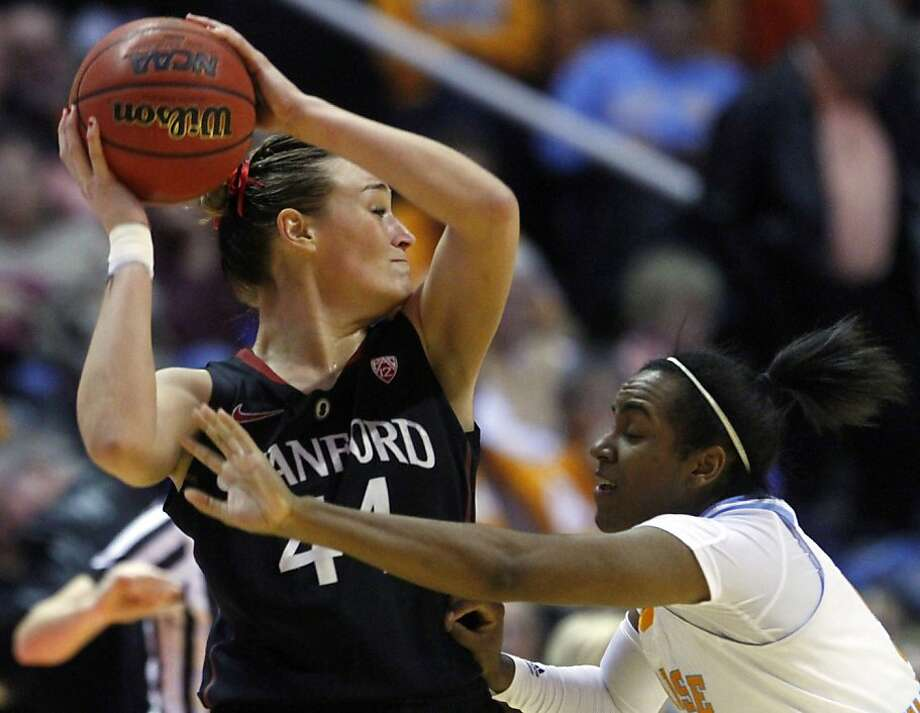 Stanford forward Joslyn Tinkle (44) is pressured by Tennessee guard Ariel Massengale (5) in the second half of an NCAA college basketball game on Saturday, Dec. 22, 2012, in Knoxville, Tenn. Stanford won 73-60. (AP Photo/Wade Payne) Photo: Wade Payne, Associated Press