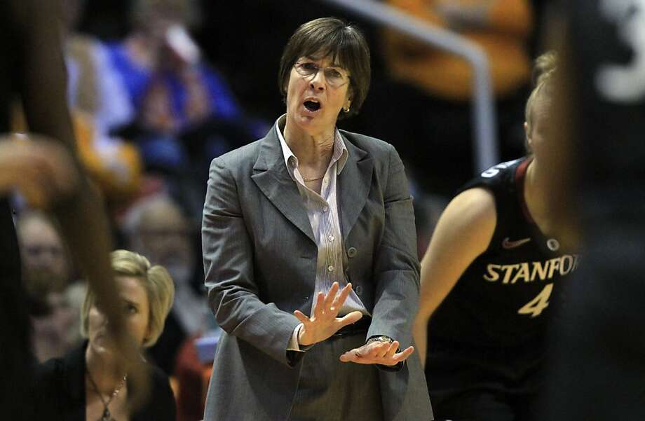 Stanford head coach Tara VanDerveer directs her team in the first half of an NCAA college basketball game against Tennessee on Saturday, Dec. 22, 2012, in Knoxville, Tenn. Stanford won 73-60. (AP Photo/Wade Payne) Photo: Wade Payne, Associated Press