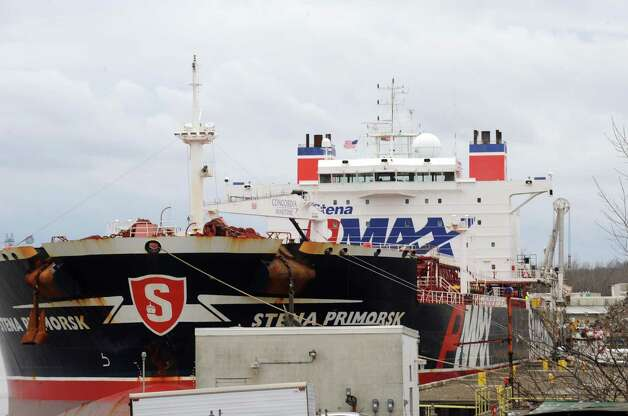 The Stena Primorsk oil tanker docked at the Port of Albany in Albany, N.Y., Saturday Dec. 22 2012. (Michael P. Farrell/Times Union) Photo: Michael P. Farrell